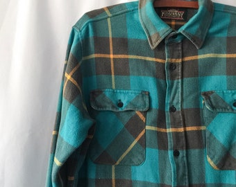 Men's vintage plaid long-sleeved flannel | turquoise & yellow