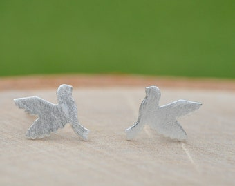 Sterling Silver Brushed Matte Silver Dove Earrings,  Sterling Silver Earrings, Peace Doves, Love Dove Earrings