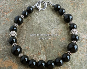 Mens Black Onyx Bracelet, Beaded Black Gemstone Jewelry for Men, Guys, Him, Dad, Boyfriend Gift