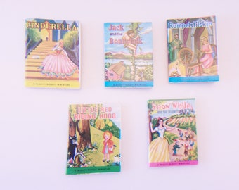 Mighty Midget Miniature Books Vintage Tiny Fairy Tale Stories Cinderella Snow White Rumpelstilskin Little Red Riding Hood Jack Beanstock