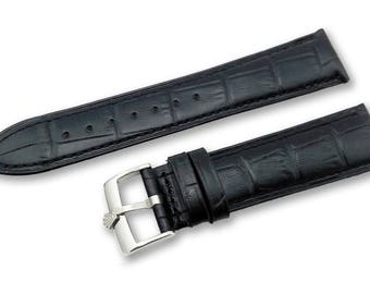 18-19-20mm Black and Brown Leather Watch Band Strap For Rolex