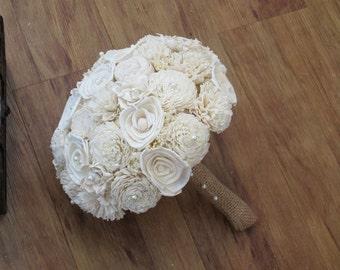 Wedding Bouquet, Ivory  Bouquet, Wood Bouquet, Bridal Bouquet, Sola flowers, Bouquet, bride bouquet, sola bouquet