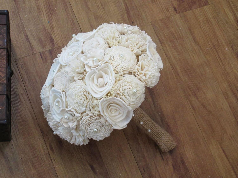 Wedding bouquet ivory bouquet wood bouquet bridal bouquet zoom izmirmasajfo Choice Image