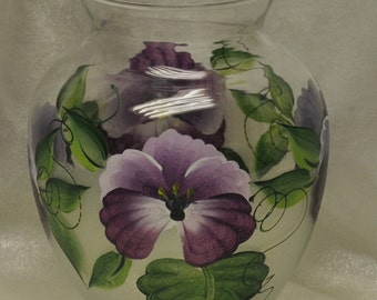 "6.5"" Plum and Purple Pansy Vase"