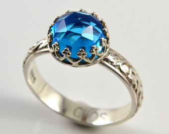 Swiss Blue Quartz Ring, Sterling Silver, Faceted Blue Quartz Stone in Crown Setting Ring