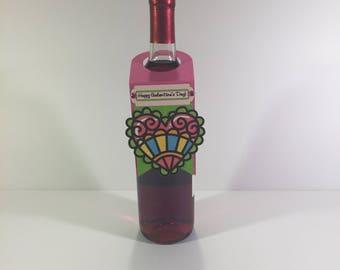 Galentine Heart Wine Bottle Gift Tag