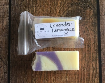 Soap Sample. Lavender Lemongrass Soap. Travel Size Soap.  Handcrafted Soap. Lavender Soap Bar. Lemongrass Body Products. Eco Friendly Gifts