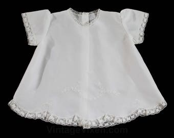 White Baby's Dress - Size 3 Months - Sheer Lightweight White Wash & Wear - Antique Style Hand Sewn Embroidery - 70s 80s Baby Girl's - 49956