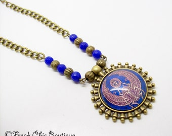 Scarab Necklace, Egyptian Jewelry, Scarab Jewellery, Sapphire, Egyptian Necklace, Khepri