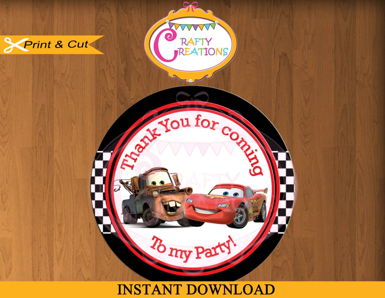Car Tags: Disney Cars Favor Tag Or Label Printable Cars Birthday Party