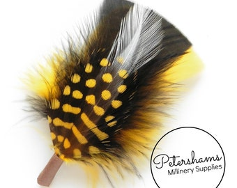 Men's Black & Yellow Bumblebee Hat Feathers Millinery Mount (Turkey, Hackle and Spotted Guinea Feathers)