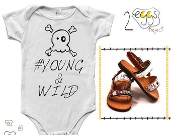 "Gift for baby boy - Bodysuit with quote – ""Young & wild"" and handmade sandals made in Greece make hipster baby boy coming home outfit"