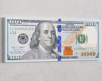 Money Art - 100 Dollar Bill Print Benjamin Franklin Money Canvas Abstract Cash Print Art