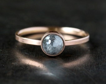 Rose Cut Diamond Ring, Unique Engagement Ring, Natural Color Gray Diamond, 14k Rose Gold Engagement Band, Ecofriendly Jewelry Conflict Free