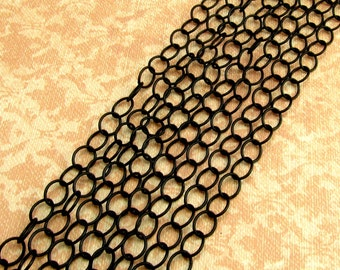 Black Cable Chain, 6mm, Soldered, 3 Feet, MB15