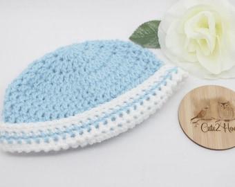 Crochet Beanie, Size 3 months, Blue, White, Newborn Beanie, Baby Hat,