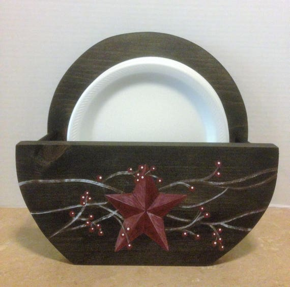 paper plate holder,primitive plate holder,rustic kitchen decor,primitive decor,distressed decor,primitive star,primitive kitchen,black decor