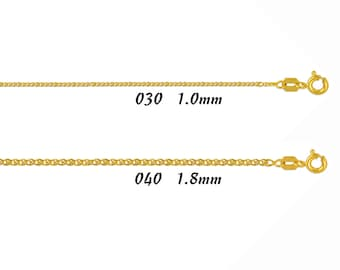 "Women's 14K Real Solid Yellow Gold Light Open Wheat Chain Necklace 1.0mm ~ 1.8mm 16"" 18"" 20"""