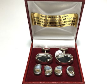 Vintage Sterling Silver Bean Tuxedo Shirt Stud Set with Matching Cufflinks With Box.