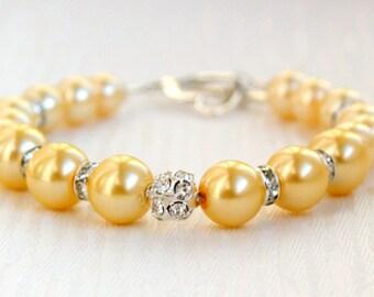 Bridesmaid Gift Bracelet Wedding Jewelry Beaded Jewelry Rhinestone Pearl Bridesmaid Bracelet Light Yellow Glass Bead And Rhinestone Bracelet
