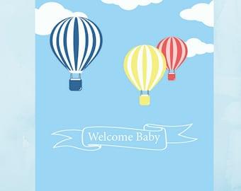 """Carte de naissance """"Welcome baby""""  thème montgolfière"""