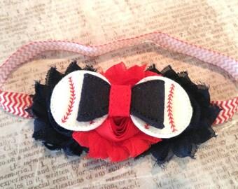 baseball headband, baby headband, girls headband, felties headband, sports headband, chevron headband, red white blue headband, girls