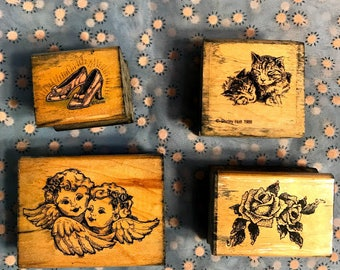 Lot of four rubber stamps, ruby slippers, cats by Shirley Holt,  twin angels, and roses