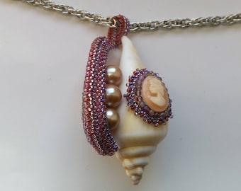 Cameo Statement Pendant, Beaded Beadwoven Shell Pendant, Genuine Pearl Pendant, Nautical Jewelry - Sea Treasures by enchantedbeads on Etsy