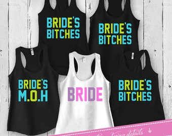 Bride And Bridesmaid Shirts Bachelorette Party Tanks Wedding Party Gifts Matching Set Bridal Party Racer Back Tank Tops FAT-3(59-79)412