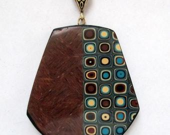 Klimt Starry Night Gold Pendant, Polymer Clay Pendant, Necklace, Klimt Pendant, Jewelry, Gold Pendant