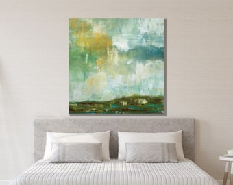 Landscape Painting, Large Wall Art, Bedroom Wall Art, Abstract, Green, White, Blue, Bedroom Art, Landscape Wall Art, Extra Large, Canvas Art