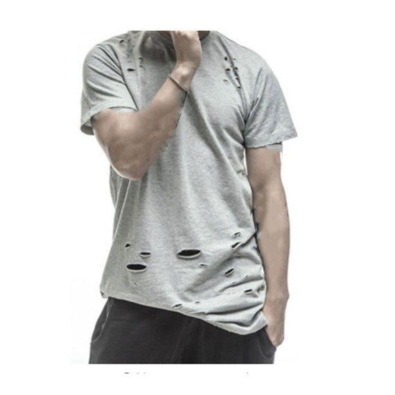 Distressed t shirt unisex vintage tee destroyed tee holes for Mens shirts with cufflink holes