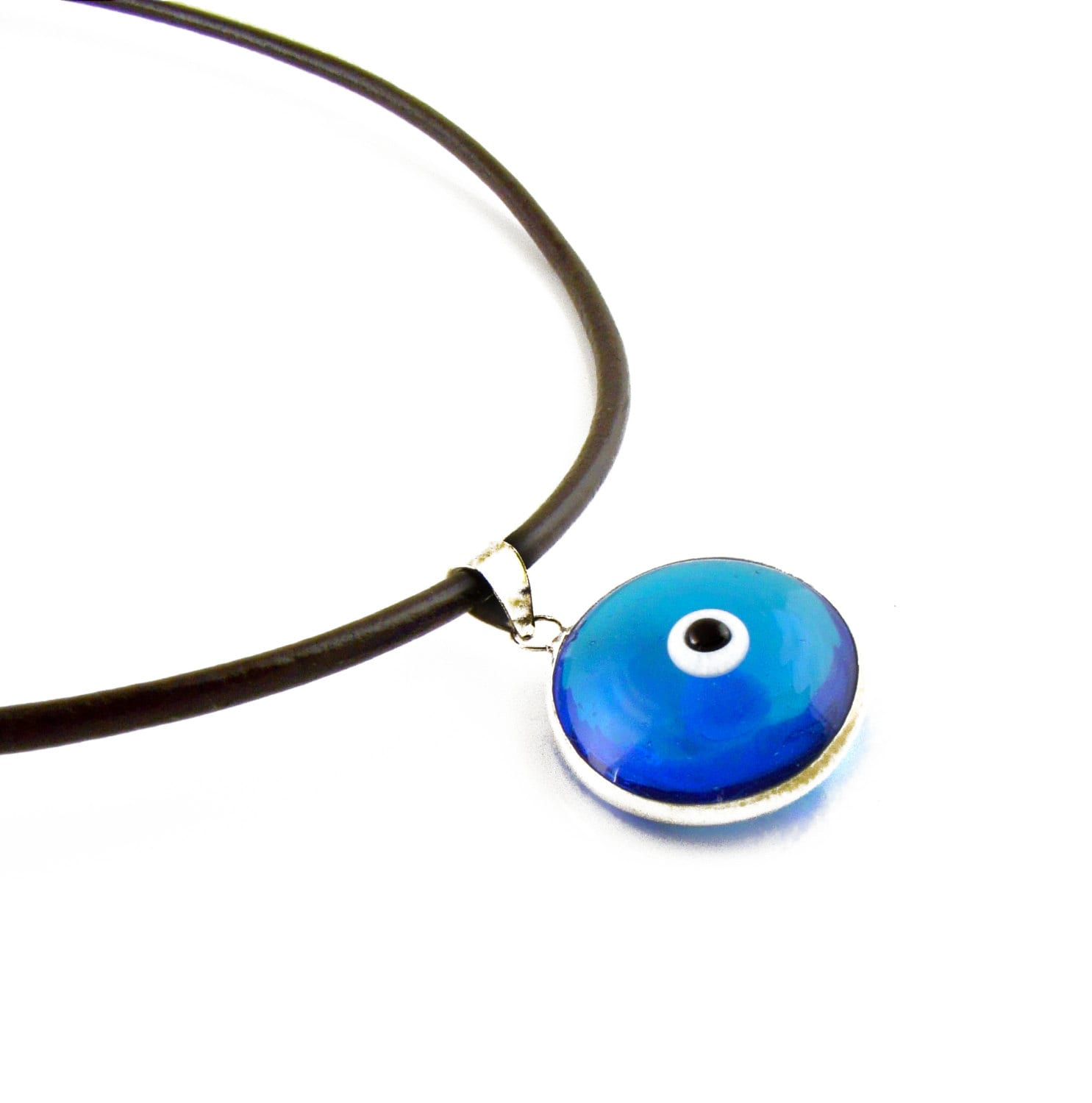gold white evil sapphire eye and yrpz turquoise pendant diamond necklace
