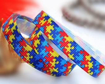 5yards 3/8'' Puzzle Autism Awareness Ribbon Printed Grosgrain Ribbon