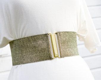 Wide gold elastic cinch belt for women