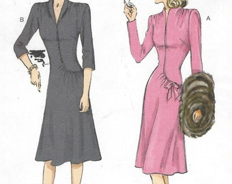 Womens Swan-Neck or Shawl Collar Dresses with Asymmetrical Gathers Butterick Sewing Pattern B6374 Size 14 16 18 20 22 Bust 36 to 44 UnCut