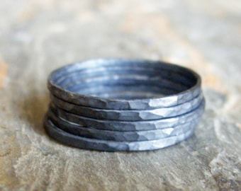 Blackened Silver Stacking Rings Set - Five Sterling Skinny Hammered Bands