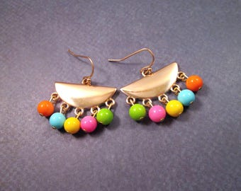 Fringe Earrings, Rainbow Glass Beaded, Gold Dangle Earrings, FREE Shipping U.S.