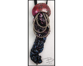 Jellyfish bolo style necklace or wall hanging -  in berry