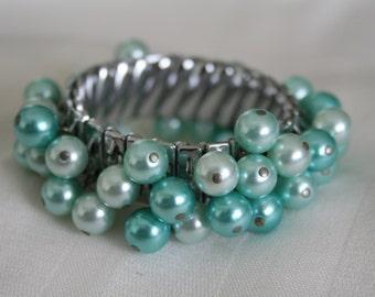 Vintage Aqua Blue Cha Cha Bracelet