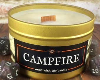CAMPFIRE Crackling Wood Wick Soy Candle | 4 or 8 oz Gold Tin | Book- RPG- Geek- Fantasy Decor | Epic Adventure Candle