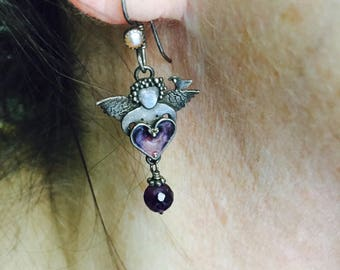 ANGELS Are AMAZING: Cloisonne, Amethyst and Sterling Silver Earrings