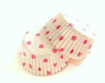 Mini Baby Pink Polka Dot White Cupcake Liners (50)