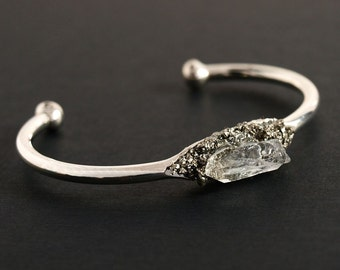 Silver Pyrite and Quartz Bangle, Silver Pyrite Bracelet