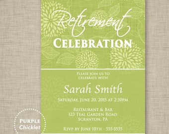 Retirement Party Invitation Green Adult Party Invite Farewell Celebration Retirement Celebration Printable JPG File Invite 12