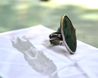 SALE / reg. 150 / now 110 : blue green chrysocolla ring with fused recycled silver shank size 7.5 by Studio Luna Verde