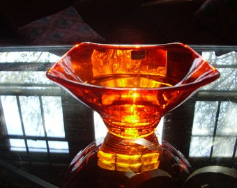 Vintage Mid Century Viking Glass Epic Persimmon Bon Bon Dish Candy Dish Mothers Day Gift