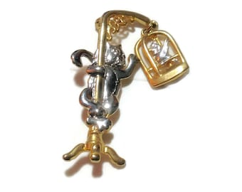Adorable Cat and Bird Cage Pin