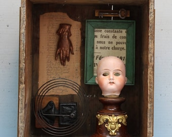 Assemblage Art Shrine Found Objects Mixed Media Vignette Shadow Box