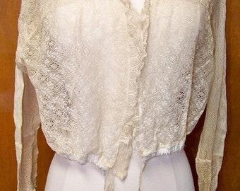 Antique Edwardian Lace Cream Shirt Blouse  1900's